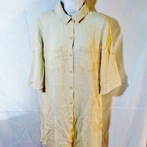 CLOTH & STONE Button Up Dress CREME
